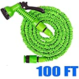 100 FT Garden Water Hose Green Latex Expanding Flexible Spray Nozzle Mangueras