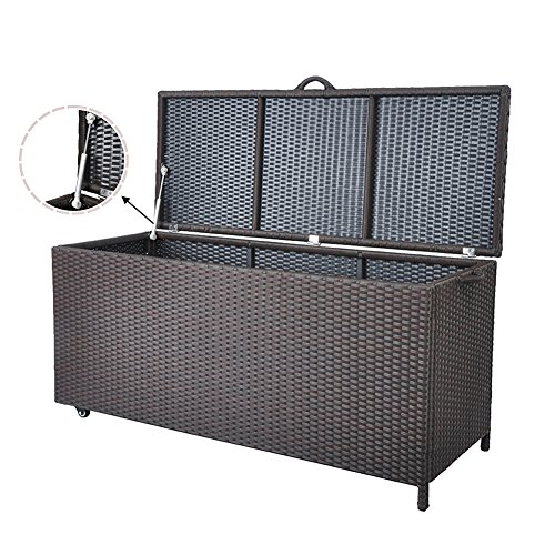 Outdoor Patio Wicker Storage Container Deck Box made of Antirust Aluminum Frames and Resin Rattan, 20-Gallon (Brown) (Large, Brown) by Babylon (Image #2)