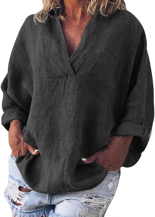 95e87a374a2 YEZIJIN Women Fashion Plus Size Solid Casual Linen V-Neck Blouse T-Shirt  Tops