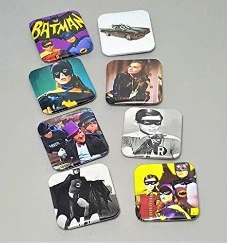 Batman Robin Magnets Adam West Julie Newmar Catwoman Penguin Set Of 8 Custom 1.5 Square Original TV Series Cosplay Superhero Party Supplies