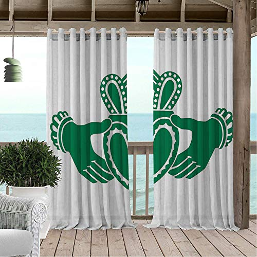 - Patio Waterproof Curtain Claddagh Silhouette Style Hands Holding a Heart Crown Celtic Folklore Composition Green White pergola Grommet Free Curtains 72 by 96 inch