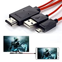 Phone to Tv Cable, 6.5 Feet Micro USB to HDMI Cable MHL to HDMI 1080P HDTV Adapter Cable Cord for Samsung Galaxy S5/S4/S3/Note 3 Galaxy Tab 3 8.0, Tab 3 10.1, Tab Pro, Galaxy Note 8, Note Pro 1