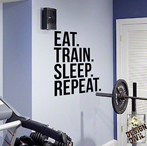 EAT TRAIN SLEEP REPEAT Gym Wall Decal Motivational Quote-Health and Fitness Spinning Kettlebell Workout Boxing UFC MMA by DesignDivil