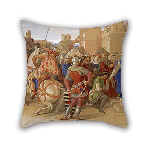 Pillow Shams 16 X 16 Inches / 40 by 40 cm(Each Side) Nice Choice for Husband Christmas Saloon Lounge Couples Bench Oil Painting William Dyce - Piety- The Knights of The Round Table About to Depart