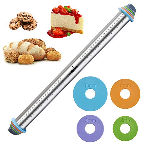 23.6 Inch Rolling Pin with Thickness Rings-Adjustable Stainless Steel Roller Guides Spacers Baking Tools for Dough Pizza Pie and Cookies by PROKITCHEN