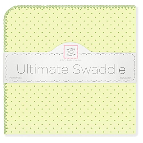 (SwaddleDesigns Ultimate Swaddle, X-Large Receiving Blanket, Made in USA Premium Cotton Flannel, Pastel Polka Dots on Kiwi (Mom's Choice Award Winner))
