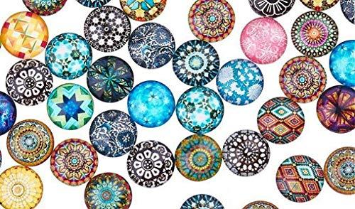 (Mosaic Printed Glass 25pcs/lot Mixed Color Mandala Crafts Flat Earring Beads Eye Cabochon Jewelry Making)