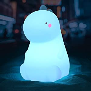 Dinosaur Night Light for Kids, Cute Color Changing Silicone Baby Night Light with Touch Sensor, Portable & Rechargeable LED Bedside Nursery Lamp for Toddler's Room, Dinosaur Gifts for Boys Girls