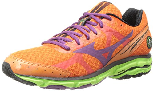 Mizuno Wave Rider 17 Running Shoe,Celosia/Purple Passion/Green Flash,6 B US