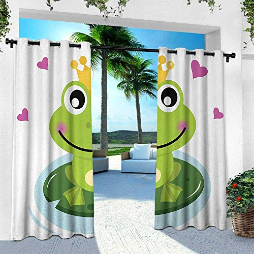 (Animal, Outdoor Patio Curtains Waterproof with Grommets,Cartoon Cheerful Frog Prince with a Crown and Hearts Fairy Tale Character Doodle, W108 x L108 Inch, Multicolor)