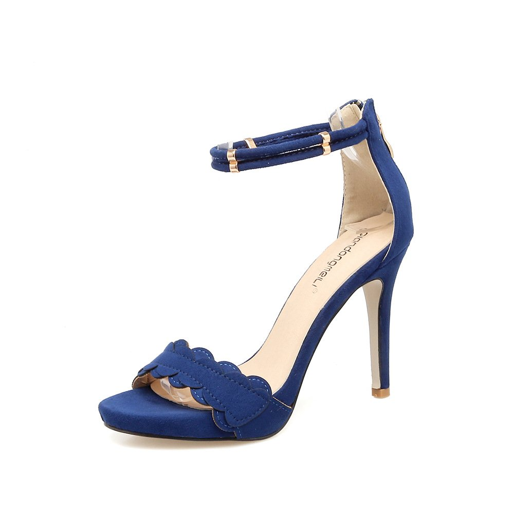 Black high heel sandals with fine open toe fashion lace sweet, blue, 39