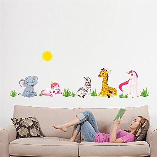 Best Choise Product Forest Animals Elephant Unicorn Horse Giraffe Wall Sticker for Kids Children Bedroom Poster Home Decor Nursery -