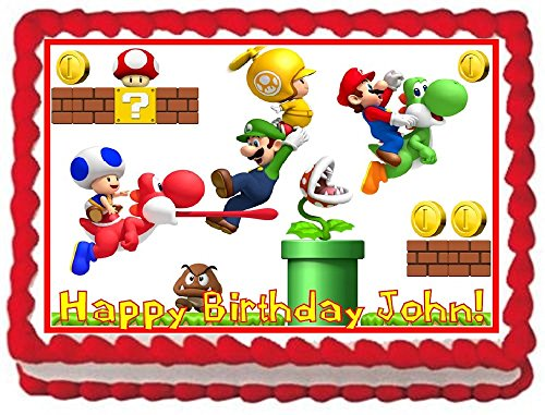 Super Mario Bros #2 Personalized Edible Cake Topper Image -- 1/4 Sheet