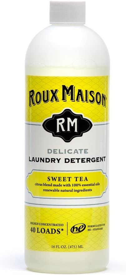 Roux Maison Delicate Laundry Detergent - Odor Eliminator HE Detergent, All Natural Laundry Detergent, Up to 40 Machine Wash Loads or 80+ Hand Washes - Sweet Tea 16oz.