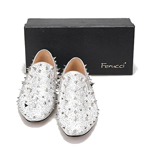 bf7febd8c02d 70%OFF Men FERUCCI Silver Spikes Slippers Loafers Flat With Crystal GZ  Rhinestone