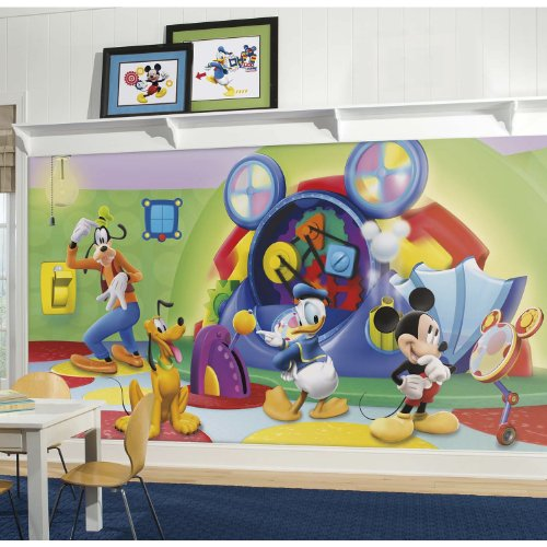 RoomMates Mickey & Friends Clubhouse Capers Chair Rail Prepasted Mural 6' x 10.5' - Ultra-strippable