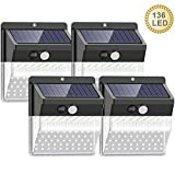 [Upgraded 136 LED//3 Mode] Solar Lights Outdoor, SEZAC Solar Security Wall Lights 270° Wide Angle Lighting Solar Motion Sensor Lights Wireless Waterproof for Yard, Garage, Deck, Pathway, Porch(4 Pack)