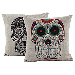 Beety P23 Skulls Cotton Linen Square Throw Pillow Case Decor Cushion Covers (Set of 2 Skulls)