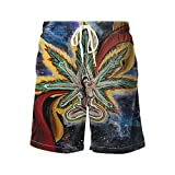 GOEYES Mens Beach Shorts Casual Swim Trunk Quick Dry Beach Shorts Swimsuit Beauty Psychedelic Multi Color Marijuana Leaf Weed