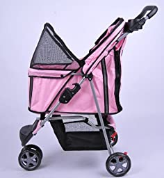 MDOG2 MK0015A 3-Wheel Front and Rear Entry Pet Stroller, Pink