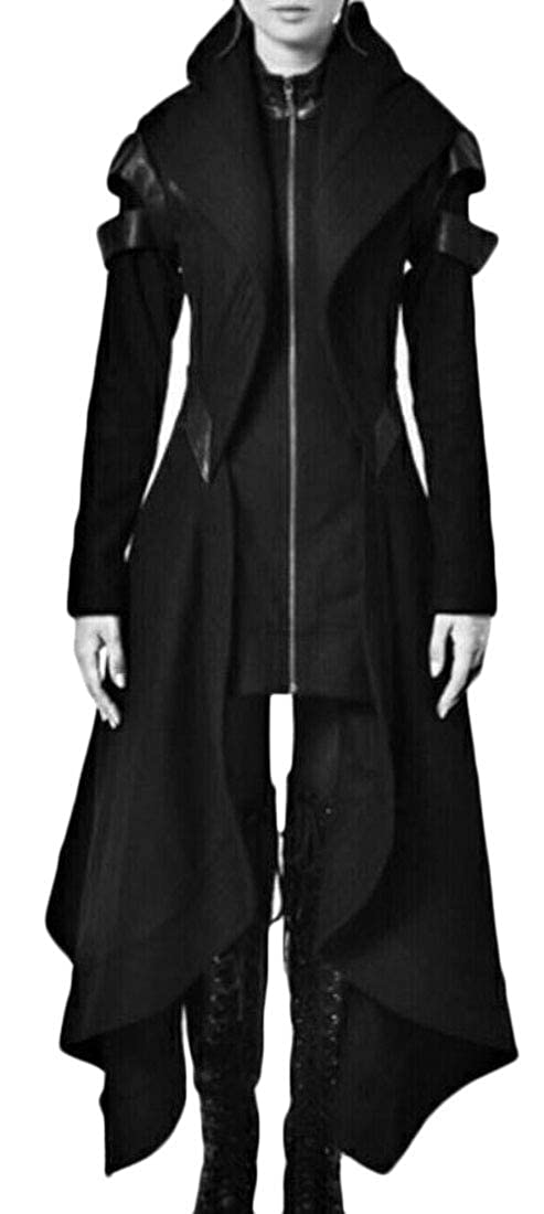 Domple Womens Hooded Irregular Victorian Outdoor Steampunk Gothic Jacket Coat