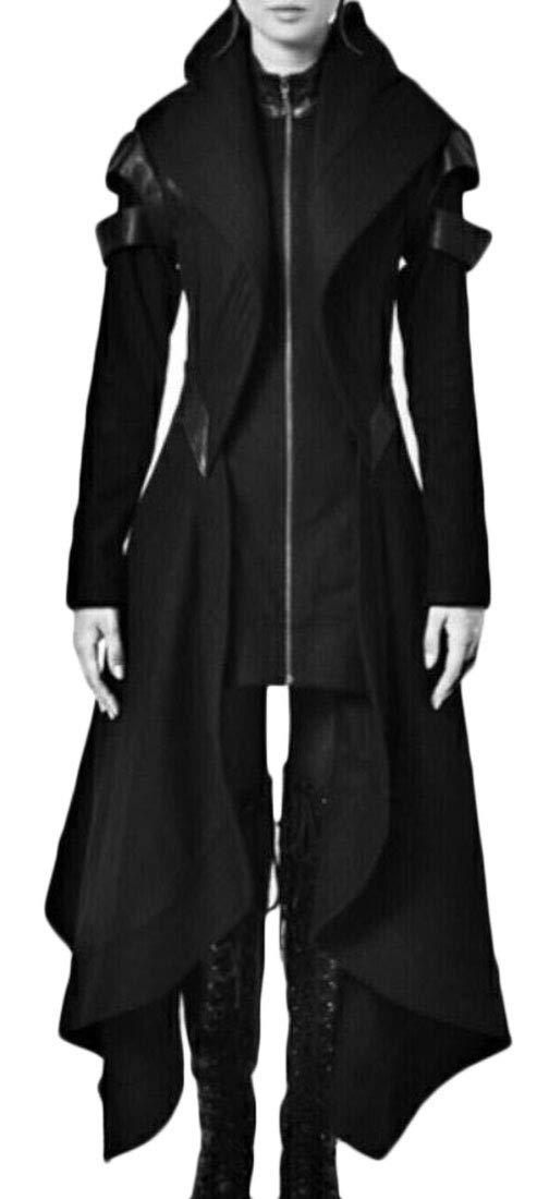 Domple Womens Hooded Irregular Victorian Outdoor Steampunk Gothic Jacket Coat Black S
