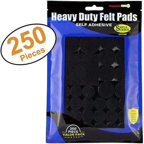 Dura Shield Heavy Duty Self-Adhesive Felt Furniture Pads, Black - Large 250-Piece Variety Pack for Best Floor Protection Value - Risk Free Satisfaction - 250 Piece Wood