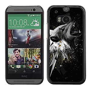 CaseLord Plastic Hard Case Cover for HTC One M8 / Cool Abstract Wolf Illustration /