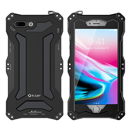 Feitenn iPhone 8 Metal Shockproof case Hybrid Armor Alloy Aluminum Metal Bumper case Double Silicone Gorilla glass Sturdy Hard Metallic Military Heavy Duty Case for iPhone 8 (Black)