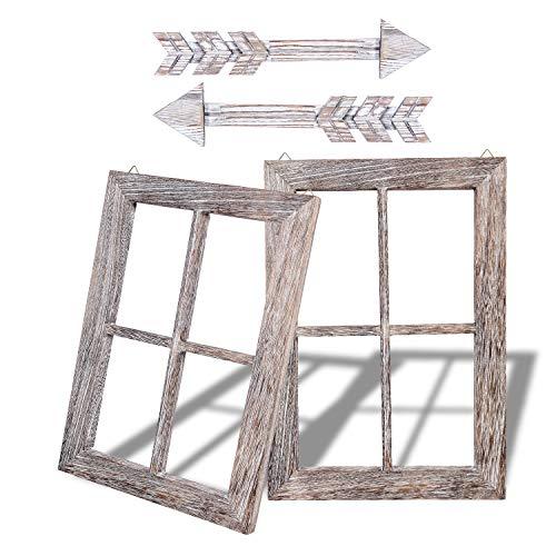 Arrow Frame - Rustic Wall Decor Wood Window Frames & Arrow Decor - Farmhouse  Decoration for Home (11X15.8 inches, 2set)