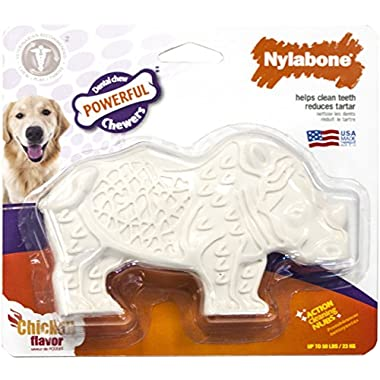 Nylabone Dental Chew Chicken Flavored Rhino Dog Chew Toy, Medium