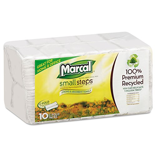 Marcal 6724 100% Premium Recycled Roll Towels, C-fold, White (Pack of 150) by Marcal