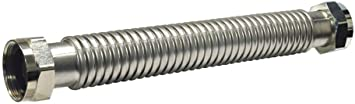 24 X 1 FIP Heavy Duty Durable Stainless Steel Corrugated Water Flex Connector W// Extra Thick Washers//Ideal for Water Heater and Water Softener...