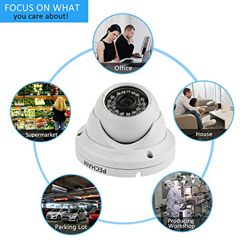 Pecham HD 1200TVL Security Camera, Surveillance CCTV Infrared Dome Camera with Night Vision and 3.6 mm Lens Wide Angle-White