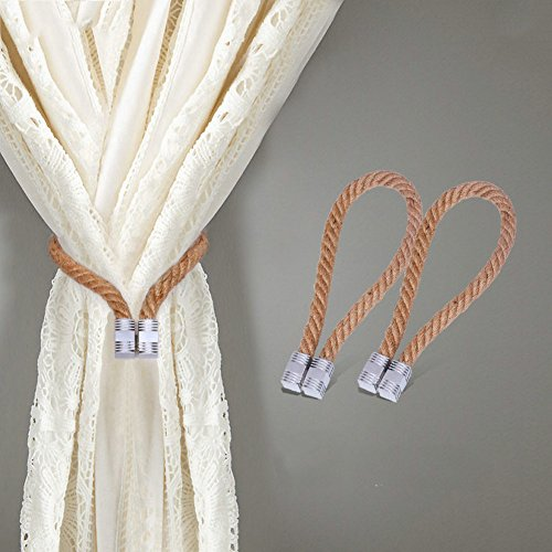 EleCharm 2 piece Natural Handmade Magnetic Rope Clip Curtain Buckle Eco-friendly Solid Curtain Decorative Collection GIFT PACKED (hempropeyellow)