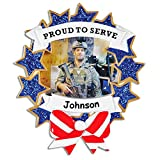 Personalized Proud to Serve Armed Forces Military or Emergency Services Christmas Tree Ornament Decoration and 2 in 1 Display Photo Frame with Name - 4 Inches