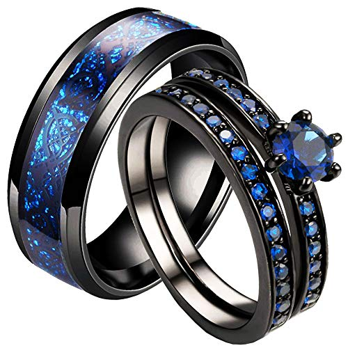 LWJYX Couple Ring His Hers Black Gold Plated Blue Cubic Zironias Wedding Engagement Ring Sets for Women & 8mm Wide Men's Stainless Steel Wedding Bands