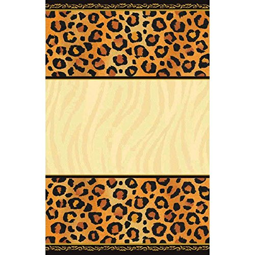 amscan Disposable Rectangular Paper Table Cover in Safari Chic Style Print Fits 8' Tables, 54 x 102, Black/Brown/Orange