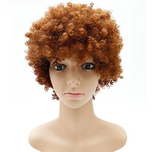 Short Ombre Brown Curly Wigs For Black Women Short Afro Kinky Curly Synthetic Wigs For Black Women