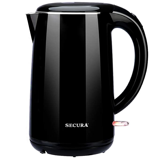 Secura SWK-1701DBO Stainless Steel Double Wall Electric Tea Kettle w/Auto Shut-Off & Boil Dry Protection Water Boiler, Black Onyx, 1.8Qt best electric tea kettle