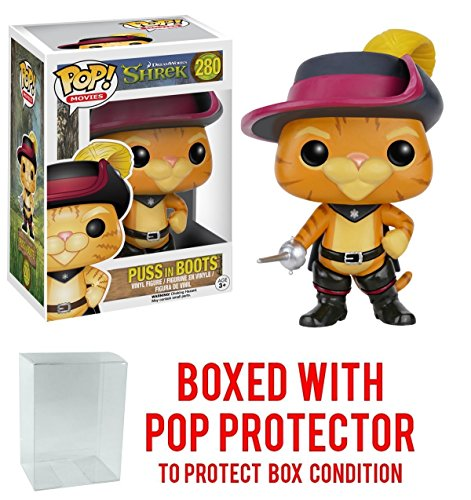Funko Pop! Movies: Shrek - Puss in Boots Vinyl Figure (Bundled with Pop BOX PROTECTOR (Puss In Boots Shrek)