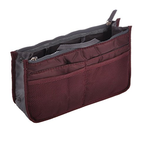 LEFV Purse Perfector Insert Organizer Diaper Bag Expandable 13 Pockets Compartments Handbag Liner Travel Smart Cosmetic Gadget Hand Pouch Organiser with Handles Wine Red