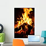 Wallmonkeys Flames Dancing Fireplace Wall Mural Peel and Stick Graphic (24 in H x 16 in W) WM219910