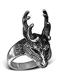 Urban Male Polished Stainless Steel Two Tone Stags Head Deer Antler Ring