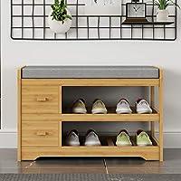 Zzaini Bamboo Shoe Rack Drawers Bench Storage Shelf Wooden 2 Tier Organizing Rack Upholstered Padded Organizer-B 70x34x45cm