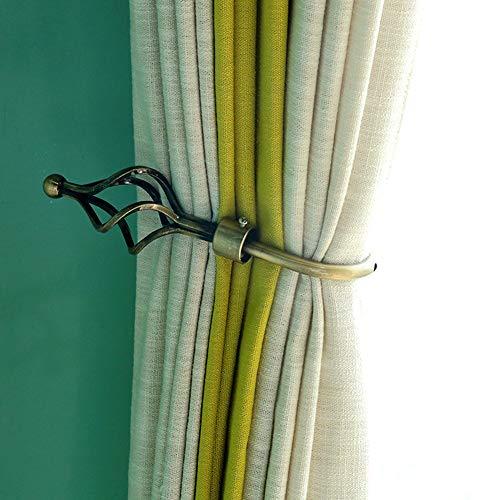 Curtain Holdbacks, Set of 2 European Style Metal Curtain Hooks U Shaped Wall Mounted Curtain Drapery Hooks Curtain Holder Home Decoration(Bronze)