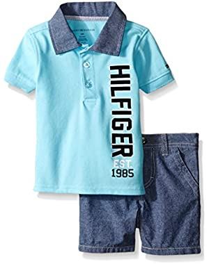 Tommy Hilfiger Baby Boys' Pique Polo Shirt with Chambray Collar and Shorts