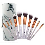 Coshine 10pcs Pro Marble Makeup Brushes Set with Marble Brush Holder, For Loose Powder, Contour, Shade, Highlighter, Eyeshadow and Foundation