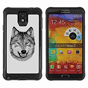 A-type Arte & diseño Anti-Slip Shockproof TPU Fundas Cover Cubre Case para Samsung Galaxy Note 3 III / N9000 / N9005 ( Laughing Wolf Cool Funny B/W )
