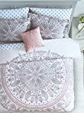 Artisan Studio 3pc Duvet Cover Set Geometric Exotic Large Round Bohemian Tapestry Style Paisley Medallion Shades of Pink and Gray on Light Pink (Queen)